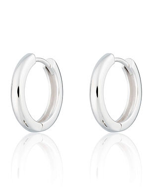 Silver Large Huggie Hoop Earrings by Scr