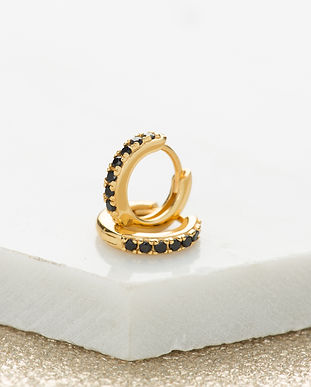 Gold Huggie Earrings with black stones S