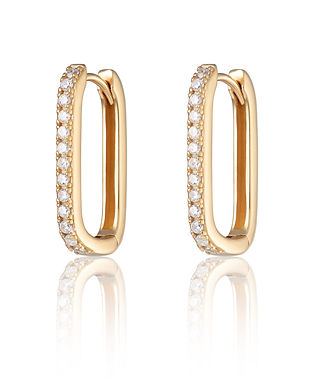 Gold Oval Huggie Earrings with Clear Sto