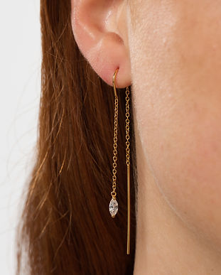 Gold Droplet Crystal Threader Earrings b