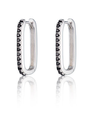 Silver Oval Huggie Earrings with Black S