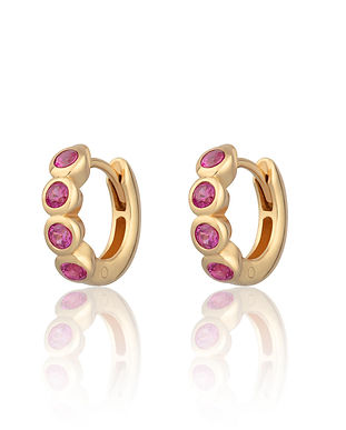 Gold Bezel Set Huggie Hoop Earrings with