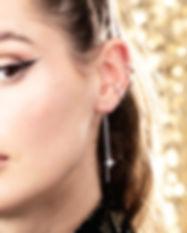 Silver Starburst Threader Earrings by Sc