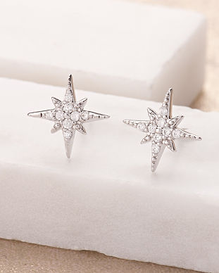 Silver Starburst Stud Earrings by Scream