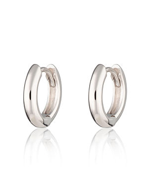 Silver Plain Huggie Hoop Earrings by Scr