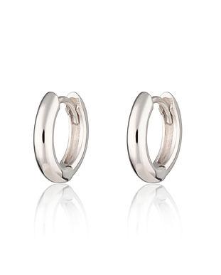 Silver Plain Huggie Hoop Earrings by Scr
