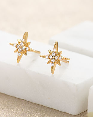 Gold Starburst Stud Earrings by Scream P