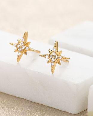 Gold Starburst Stud Earrings by Scream P