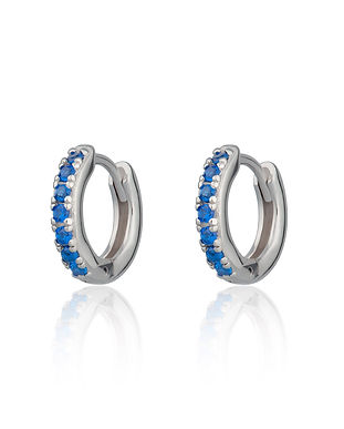 Silver Huggie Hoop Earrings with Blue St