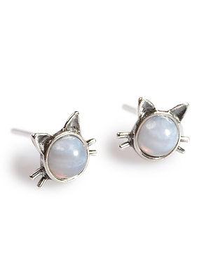 EH719-BLAG-BU-Blue-Lace-Agate-Cat-Stud-E