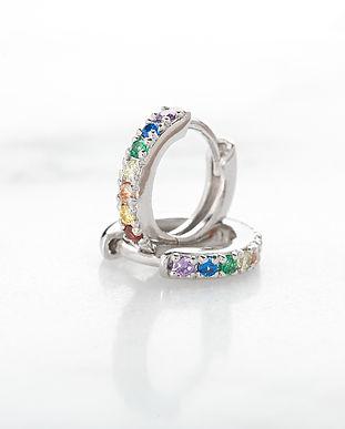 Silver Huggie Earrings with Rainbow Ston