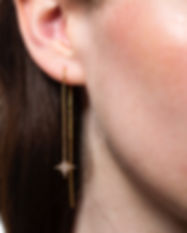 Gold Starburst Threader Earrings by Scre