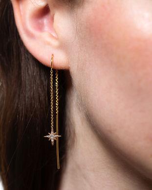 Gold Starburst Threader Earrings by Scre