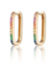 Gold Oval Huggie Earrings with Rainbow S