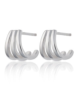 Silver Triple Split Huggie Stud Earrings