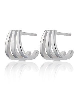 Silver Triple Split Huggie Stud Earrings