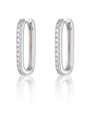 Silver Oval Huggie Earrings with Clear S