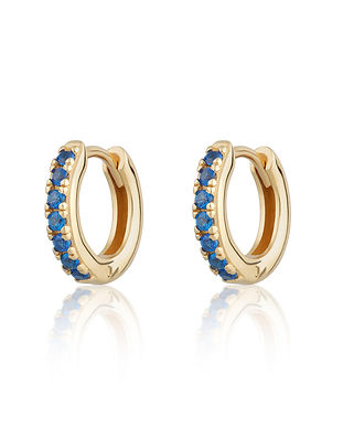 Gold Huggie Hoop Earrings with Blue Ston