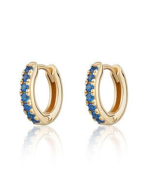 Gold Huggie Hoop Earrings with Blue Ston