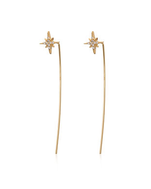 Gold Starburst Bar Threader Earrings SPE