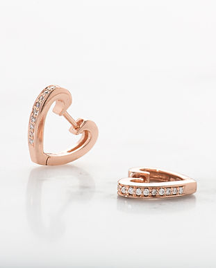 Rose Gold Heart Huggie Earrings SPESRGS6