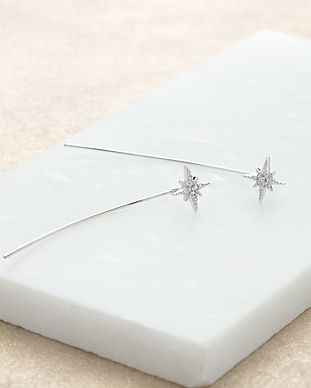 Silver Starburst Bar Earrings SPESSS106