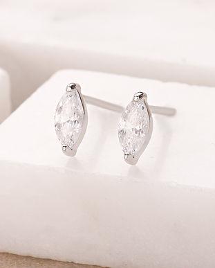 Silver Droplet Crystal Stud Earrings SPE