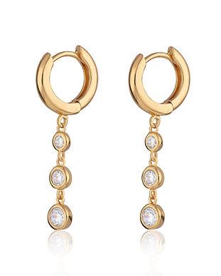 Gold Triple Drop Huggie Earrings by Scre
