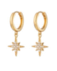 SP Gold Starburst Hoop Earrings SPEDGS41