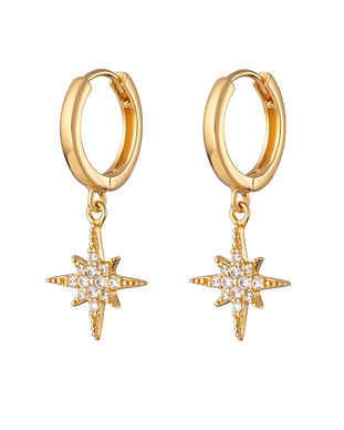 SP Gold Starburst Hoop Earrings SPEDGS41