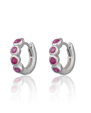Silver Bezel Set Huggie Hoop Earrings wi