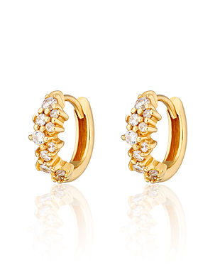 Gold Stardust Huggie Hoop Earrings by Sc
