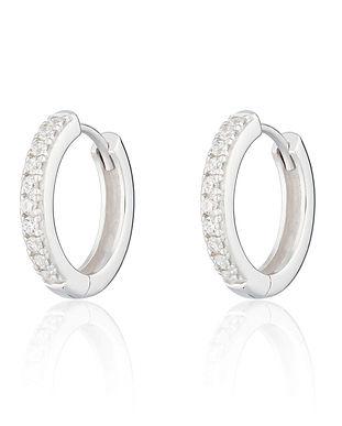 Silver Large Huggie Hoop Earrings with C