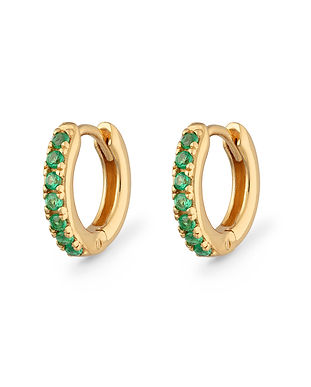 Gold Plated Green Stone Huggie Hoops by