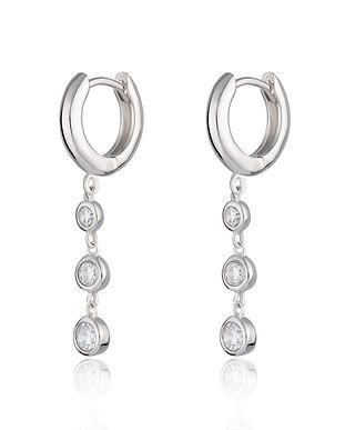 Silver Triple Drop Huggie Earrings by Sc
