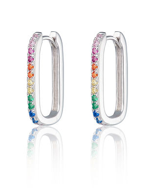 Silver Oval Huggie Earrings with Rainbow