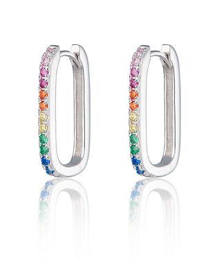 Silver Oval Huggie Earrings with Rainbow