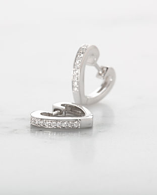 Silver Heart Huggie Earrings SPESSS65-PV