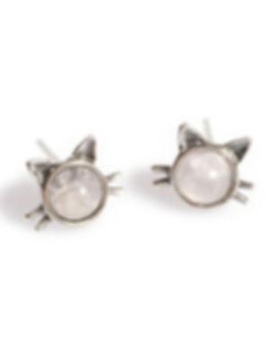 EH719-PQ-BU-Pink-Quartz-Cat-Stud-Earring