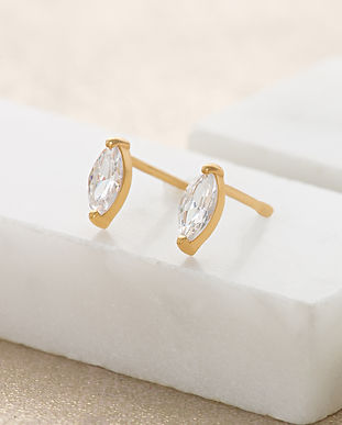 Gold Droplet Crystal Stud Earrings SPESG