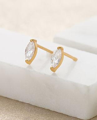Gold Droplet Crystal Stud Earrings SPESG
