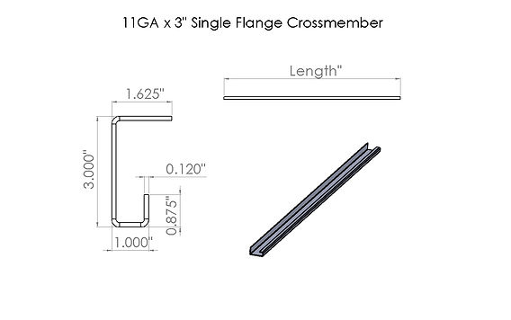 11ga - 3in Single Flange Crossmember dra