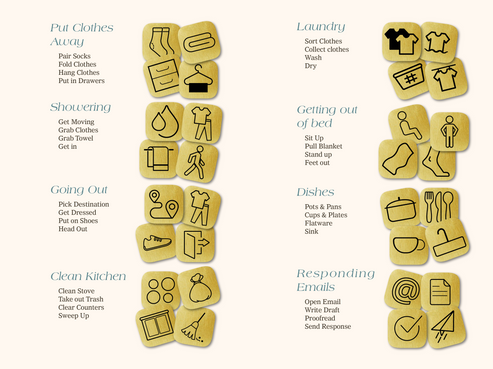 I have designed a collection of tasks broken down into smaller tasks that can be placed on the Labyrinth to give meaning to each of the paths on it. I'm focusing on tasks already perceived as small since these are considered harder to break down but can still provoke Overwhelm.