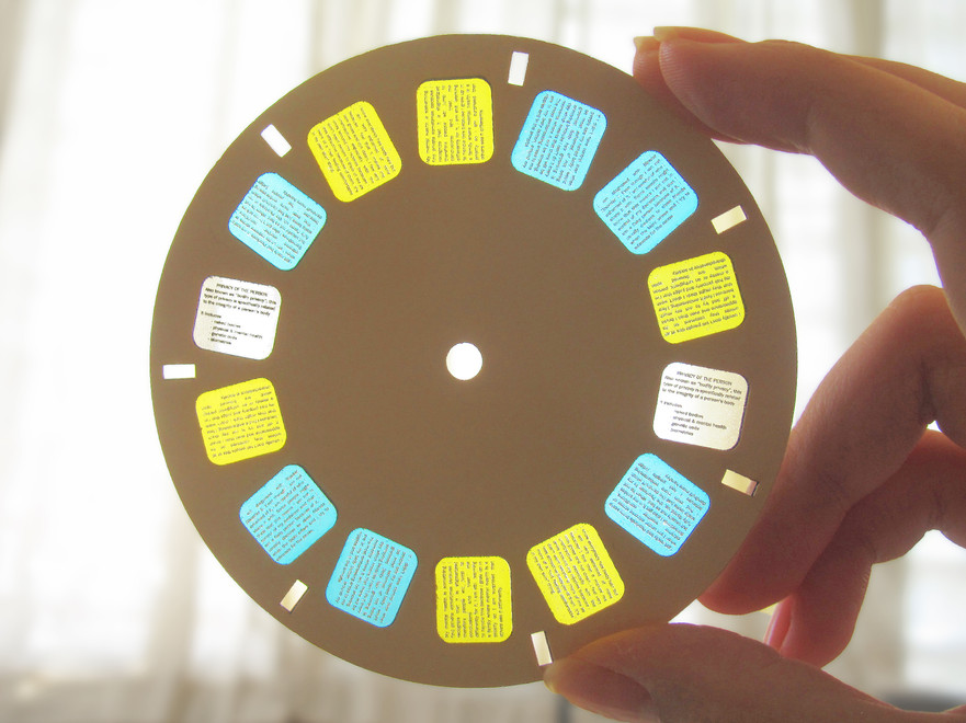 """Each reel has a description of the type of privacy explored within, shown in white, followed by 3 """"secrets"""" and their """"reason to be"""" shown respectively in cyan and yellow"""