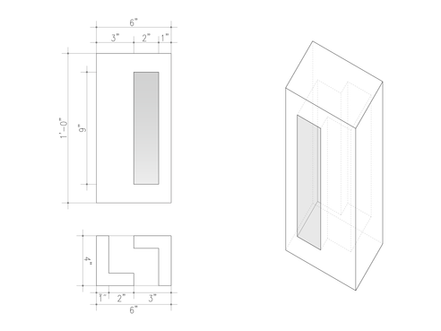 """In the Brise Soleil Block, the light enters through the 2"""" openings and is diffused when it is interrupted by the block itself with the same elements that hinder the visibility through"""