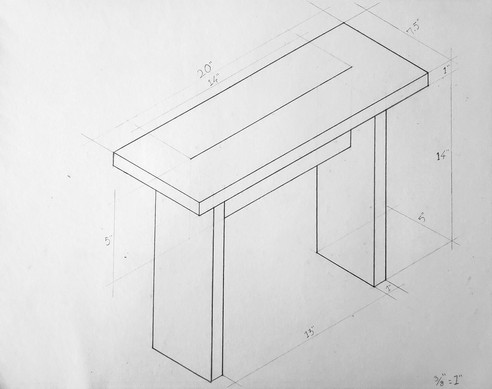 It's simple design of four rectangular planes for each of its basic components (legs, cross brace and top surface) allows the process to become the protagonist of the design