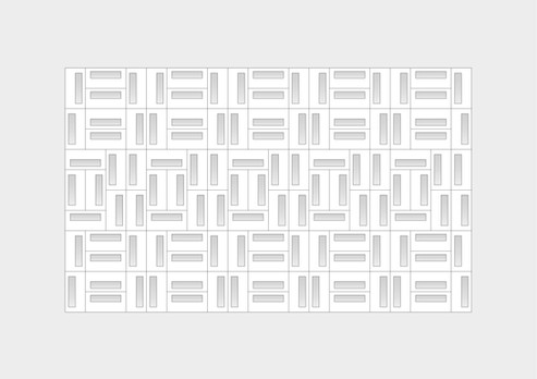 The block's dimensions create a variety of patterns on the wall and its shadows by allowing the blocks to fit together regardless of the orientation