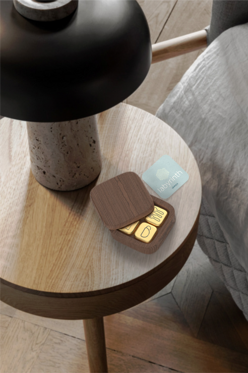 """The collection is divided into small wooden boxes; one per each task grouping. The box is designed to create a satisfying tactile experience as the lid slides smoothly across the container edges to display its contents.  Photograph: Monica Steffensen, """"The Sculptor's Residence"""" https://www.dezeen.com/2020/02/06/sculptors-residence-installation-stockholm/"""