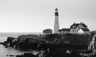 Black and White Side View of lighthouse