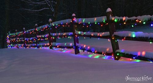 Lights on Fence Under Snow